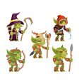 evil goblins pack dungeon dark wood tribe monster vector image