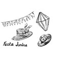 festa junina hand sketch elements vector image vector image