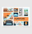 flat home interior infographic template vector image vector image