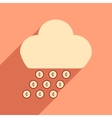 Flat with shadow icon cloud and rain of coins vector image vector image