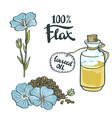 Flax Seeds Oil in a Glass Bottle with flowers vector image vector image