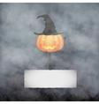 Halloween pumpkin in fog vector image vector image