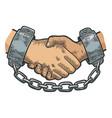 handshake in shackles sketch engraving vector image vector image