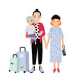happy family on trip mother father and baby son vector image