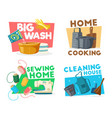 housework cleaning sewing and cooking icons vector image