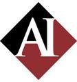initial ai rhombus logo design vector image