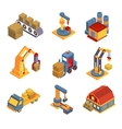 Isometric Factory Flowchart with Robotic Machinery vector image vector image