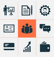 job icons set with authentication wallet vector image vector image