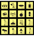 lighting flat black and yellow icons set eps10 vector image vector image