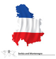 Map of Serbia and Montenegro with flag vector image vector image
