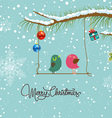merry christmas card with two bird vector image vector image