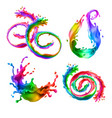 mixed splashes rainbow swirls with drops vector image