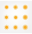 Orange Sun symbols set vector image