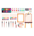 painting tools cartoon paintbrush and canvas vector image