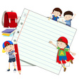 Paper design with boys and girl vector image vector image