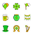 patrick day icons set cartoon style vector image vector image