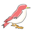pink little bird on white background vector image vector image