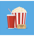 popcorn with cup of soda and cinema ticket vector image