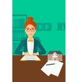 Real estate agent signing contract vector image vector image