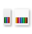 realistic box of colored pencils icon set vector image vector image