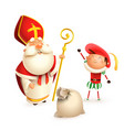 saint nicholas and helper zwarte piet with gifts vector image vector image