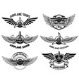set airplane show labels emblems with wings vector image vector image