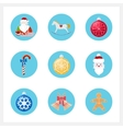 Set of Colorful Christmas Round Icons vector image vector image
