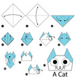 step instructions how to make origami a cat vector image vector image