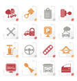 stylized car parts and services icons vector image vector image