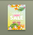 summer sale tropical poster with plumeria flowers vector image
