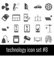 technology icon set 8 gray icons on white vector image vector image