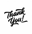 thank you handwritten hand drawn lettering vector image vector image