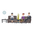 waiting people man and women waiting room vector image vector image