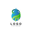 water logo with leaf nature design vector image