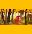 wooden stilt house in autumn forest old shack vector image vector image