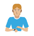 young man with smartwatch vector image vector image