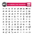 100 icons set of auto transport and logistic vector image vector image