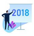 2018 businessman standing doing presentation on vector image vector image