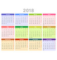 2018 year annual calendar monday first english vector image vector image
