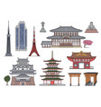 ancient and modern japanese landmark building set vector image vector image