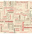 bakery words tags seamless pattern vector image vector image