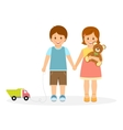 Boy and girl with toys vector image vector image