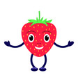 cartoon character smiling red strawberry vector image