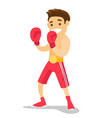 caucasian white boxer training in boxing gloves vector image