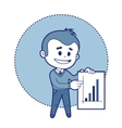 Character businessman with graph of earnings vector image