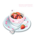 chocolate strawberry mousse in a mug vector image vector image