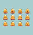 christmas bell emoji set vector image vector image