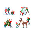 christmas family scenes decorating christmas tree vector image