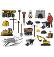 coal mining industry equipment icons vector image