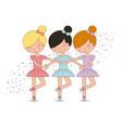 cute ballerina girls practicing ballet dance vector image